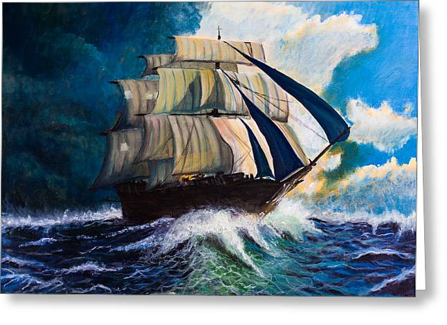 Wooden Ship Paintings Greeting Cards - Running from the storm Greeting Card by Lee Stockwell