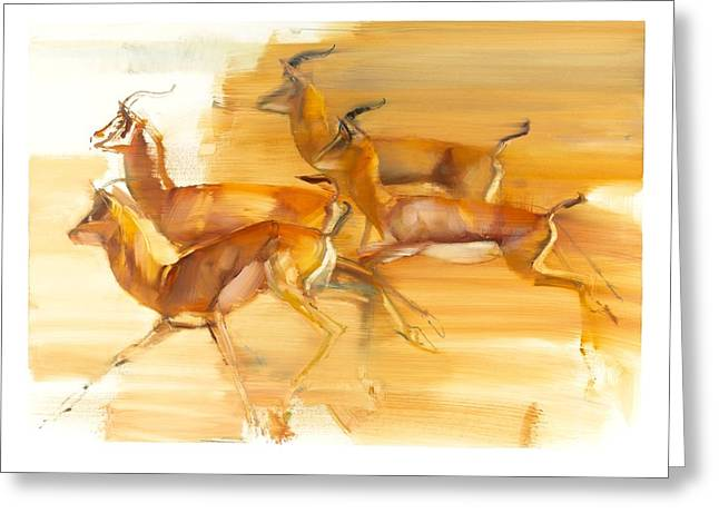 Running Gazelles Greeting Card by Mark Adlington