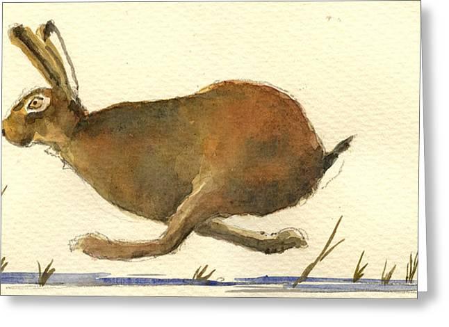 Haring Greeting Cards - Running hare Greeting Card by Juan  Bosco