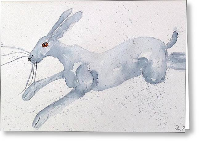 March Hare Paintings Greeting Cards - Running Hare Greeting Card by Karen  Connolly