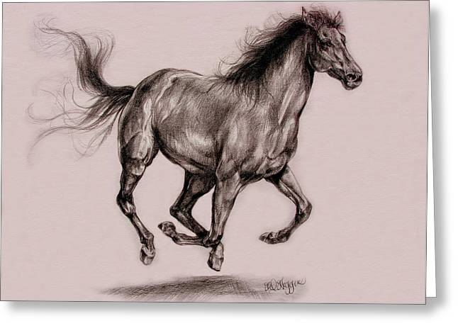Cowboy Pencil Drawings Greeting Cards - Running horse Greeting Card by Derrick Higgins