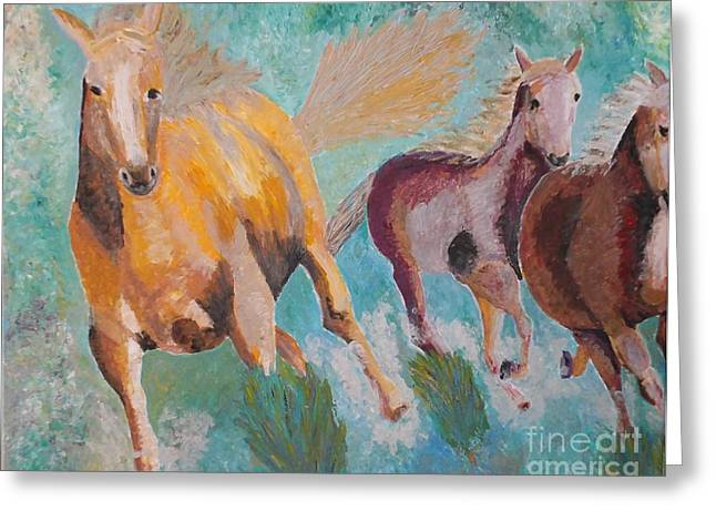 Movement Reliefs Greeting Cards - Running Horses  Greeting Card by Vicky Tarcau