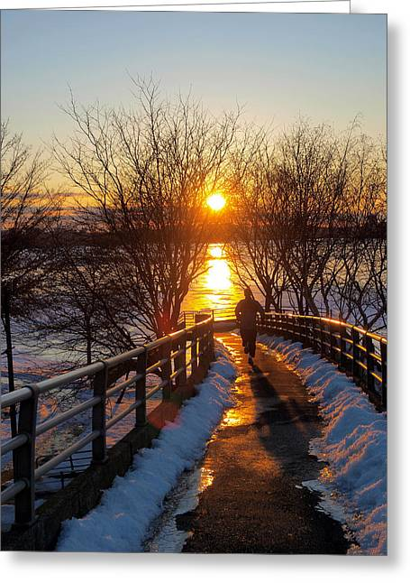 Running In Sunset Greeting Card by Paul Ge