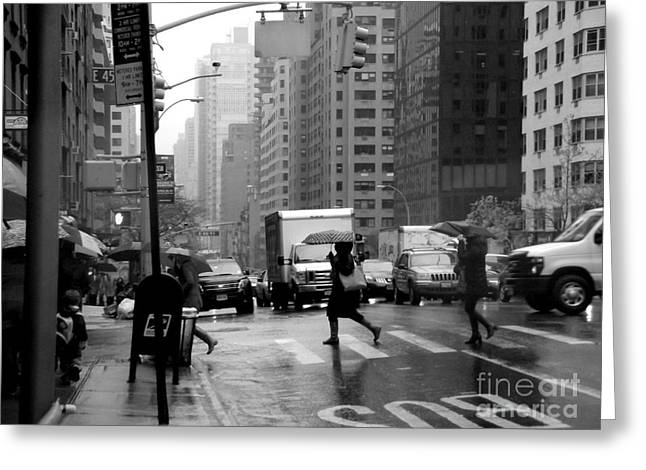 Workday Greeting Cards - Running in the Rain - New York City Street Scene Greeting Card by Miriam Danar