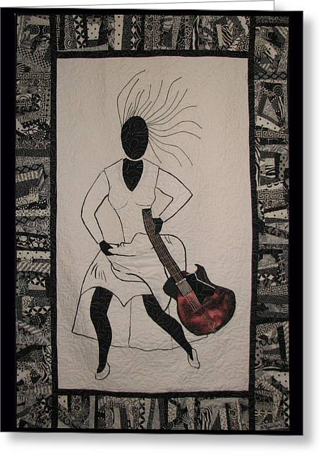 Black Tapestries - Textiles Greeting Cards - Running Late Greeting Card by Aisha Lumumba
