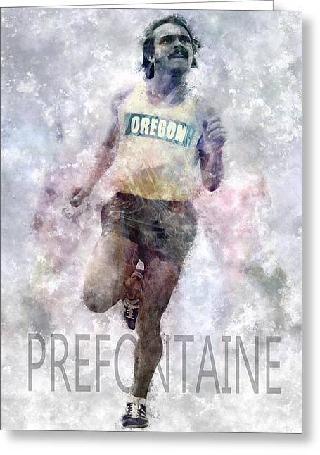 Oregon Ducks Greeting Cards - Running Legend Steve Prefontaine Greeting Card by Daniel Hagerman
