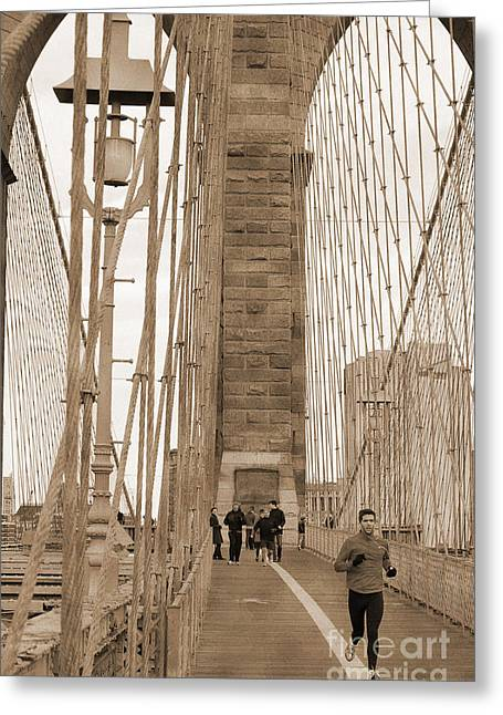 City Skylines Greeting Cards Greeting Cards - Running on Brooklyn Bridge Greeting Card by RicardMN Photography
