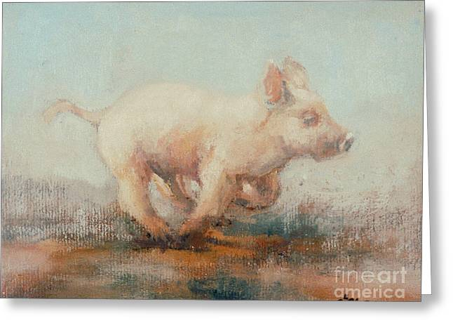 Running Piglet Greeting Card by Ellie O Shea