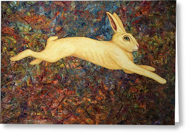 James Paintings Greeting Cards - Running Rabbit Greeting Card by James W Johnson
