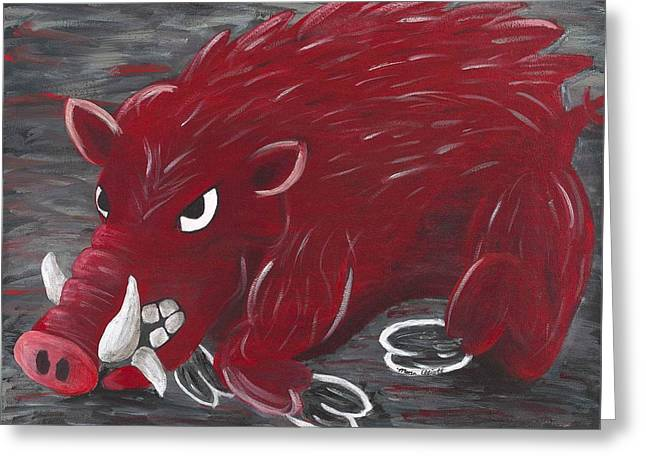Arkansas Paintings Greeting Cards - Running Razorback Greeting Card by Mona Elliott