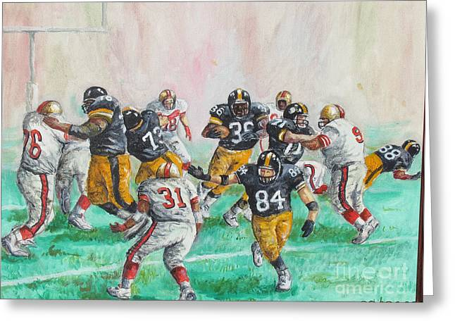 Jerome Bettis Greeting Cards - Running Room for the Bus Greeting Card by Philip Lee