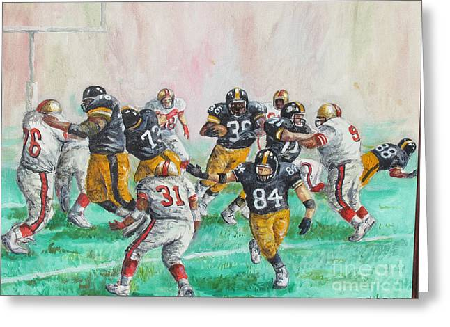 Running Back Paintings Greeting Cards - Running Room for the Bus Greeting Card by Philip Lee