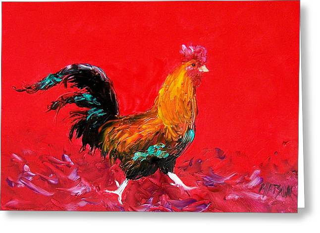 Butchers Decor Greeting Cards - Little Brown Rooster  Greeting Card by Jan Matson