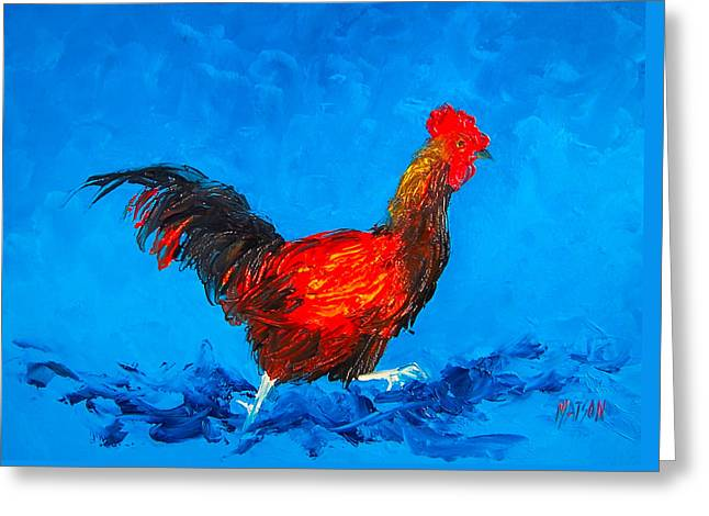 Running Rooster On Blue Background Greeting Card by Jan Matson