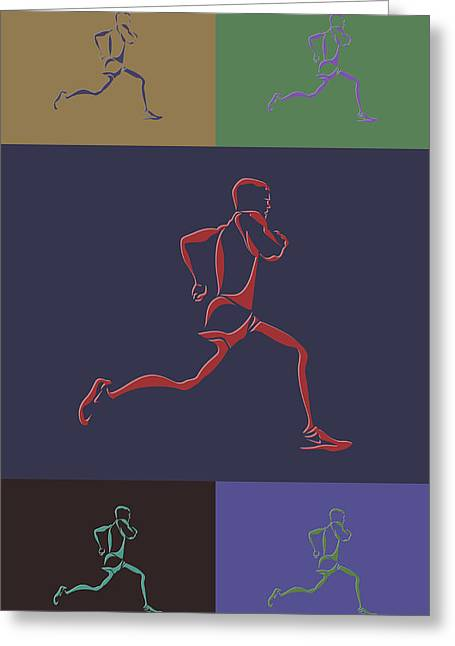 Runner Greeting Cards - Running Runner Greeting Card by Joe Hamilton