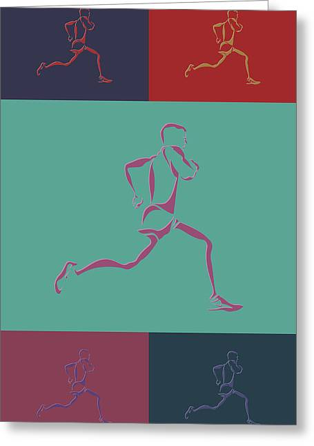 Runner Greeting Cards - Running Runner3 Greeting Card by Joe Hamilton