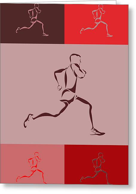 Runner Greeting Cards - Running Runner4 Greeting Card by Joe Hamilton