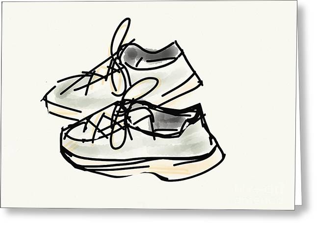 Sneakers Digital Art Greeting Cards - Running shoes Greeting Card by Mary Ann Archibald