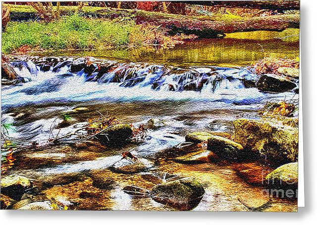 Cathedral Rock Greeting Cards - Running Stream in Yosemite National Park Greeting Card by  Bob and Nadine Johnston