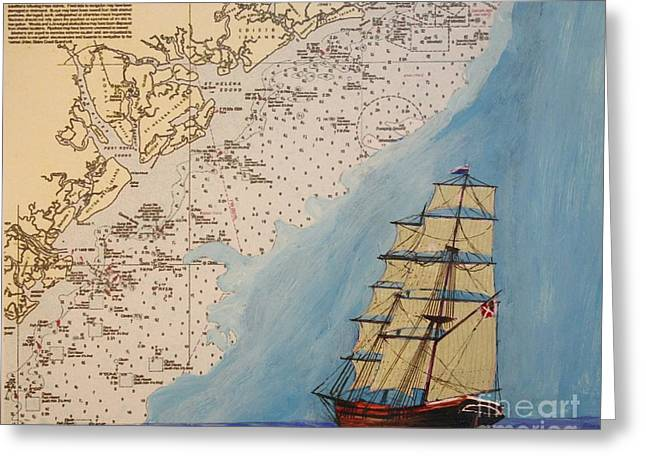 Charleston Drawings Greeting Cards - Running the Gauntlet Greeting Card by Bill Hubbard