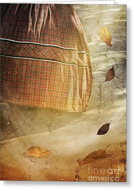 Plaid Dress Greeting Cards - Running Through Leaves Greeting Card by Susan Gary