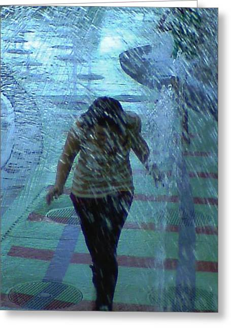 Running Through The Fountains Greeting Card by Gina Lee Manley