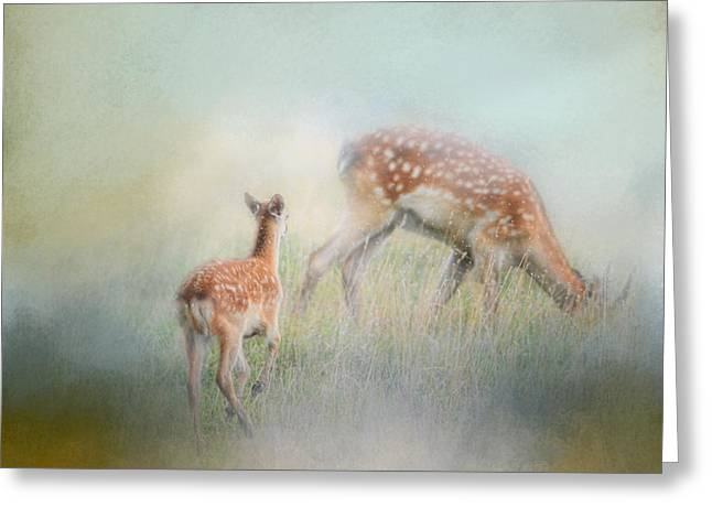 Art For Childrens Room Greeting Cards - Running To Papa - Baby Deer Greeting Card by Jai Johnson