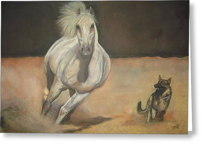 Together Pastels Greeting Cards - Running together Greeting Card by Manuel Castro Baez