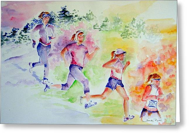 Running Toward The Marathon Greeting Card by Sandy Ryan