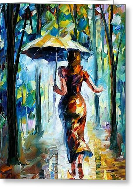 Popular Art Greeting Cards - Running Towards Love - PALETTE KNIFE Oil Painting On Canvas By Leonid Afremov Greeting Card by Leonid Afremov
