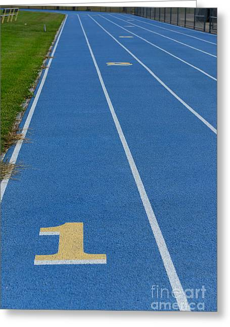 Long Jump Greeting Cards - Running Track Greeting Card by Paul Ward