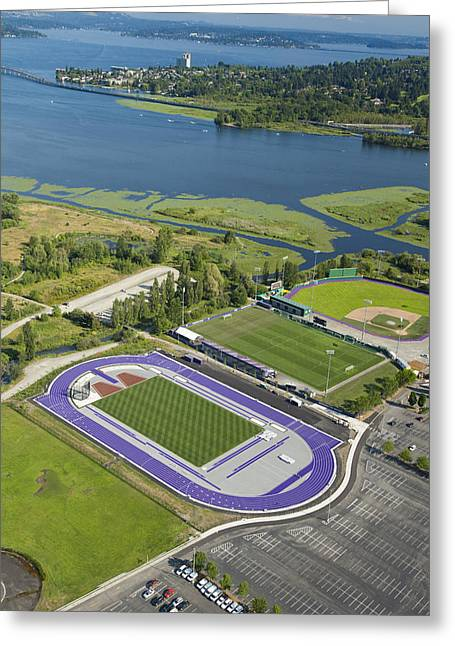 Self-knowledge Photographs Greeting Cards - Running Track, Soccer Field Greeting Card by Andrew Buchanan/SLP
