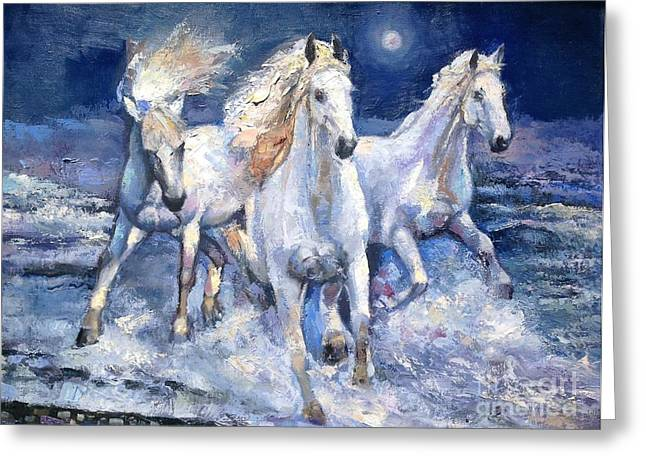 Sea Horse Greeting Cards - Running under the moon Greeting Card by Vladimir Demidovich