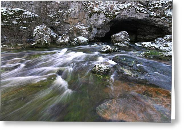 Water In Caves Greeting Cards - Running Water Cave Greeting Card by Dreamland Media