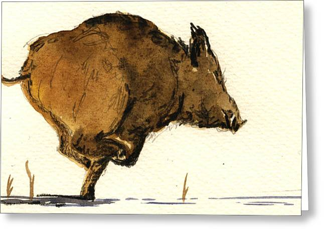 Boars Greeting Cards - Running wild boar Greeting Card by Juan  Bosco