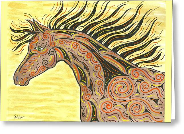 Running Wild Horse Greeting Card by Susie WEBER