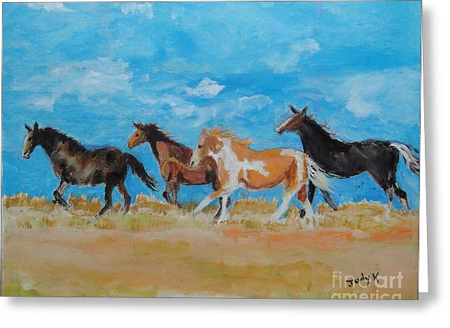 Horse Greeting Cards - Running WIld Greeting Card by Judy Kay