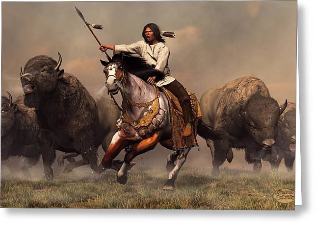 American West Greeting Cards - Running With Buffalo Greeting Card by Daniel Eskridge