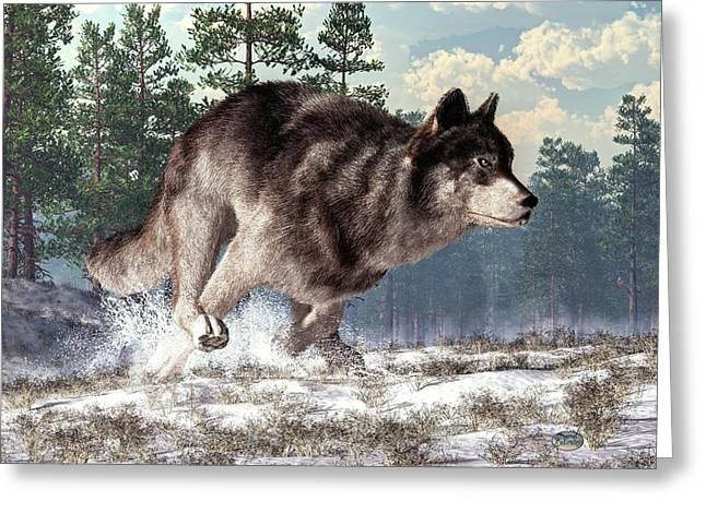 Running Wolf Greeting Card by Daniel Eskridge