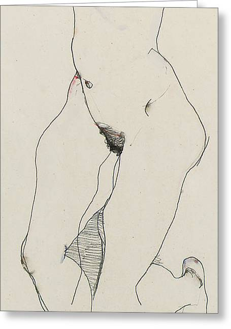 Schiele Drawings Greeting Cards - Running woman Greeting Card by Egon Schiele