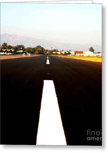 Black Painted Edges Greeting Cards - Runway Greeting Card by Henrik Lehnerer
