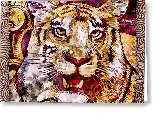 Red Tiger Greeting Cards - Rupee Tiger Greeting Card by Carol Leigh