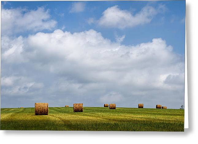 Recently Sold -  - Haybale Greeting Cards - Rural America - A View from Kansas Country Roads Greeting Card by Scott Bean
