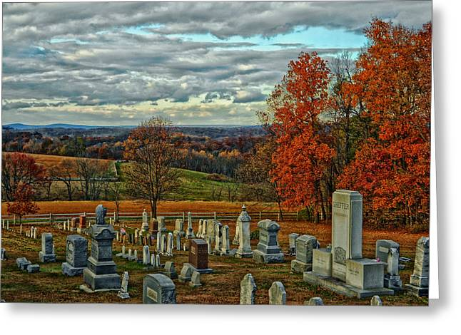 Headstones Greeting Cards - Rural Cemetery in Autumn Greeting Card by Mountain Dreams