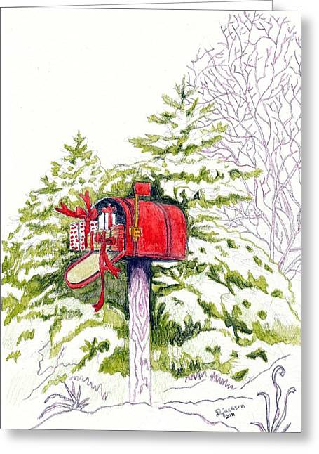 Pen And Ink Rural Drawings Greeting Cards - Rural Christmas Compliments Greeting Card by Dale Jackson