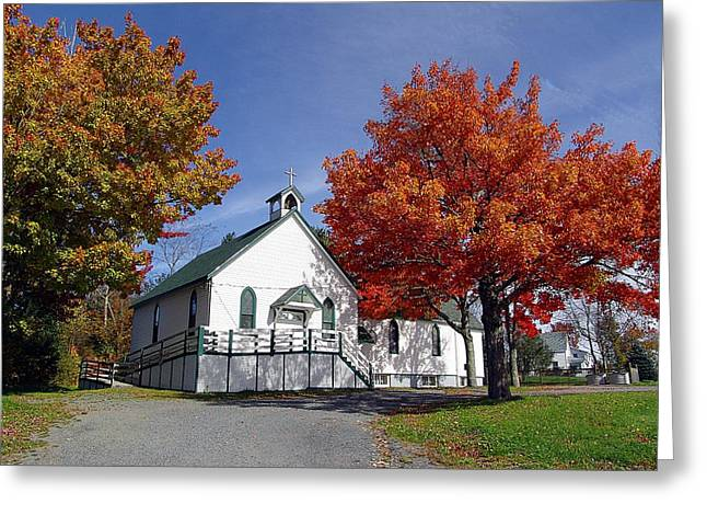 Country Church Mixed Media Greeting Cards - Rural Church in Autumn Greeting Card by Janet Ashworth