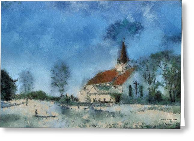 Snow-covered Landscape Greeting Cards - Rural Church Photo Art 17 Greeting Card by Thomas Woolworth