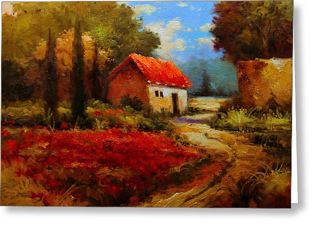 Provence Village Greeting Cards - Rural Cotone 1 - Italian Village painting Greeting Card by Kanayo Ede