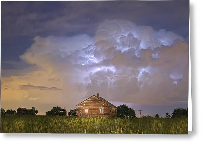 Storm Prints Greeting Cards - Rural Country Cabin Lightning Storm Greeting Card by James BO  Insogna