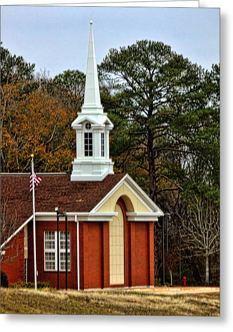 Redm Green Greeting Cards - Rural Country Church Greeting Card by Linda Phelps